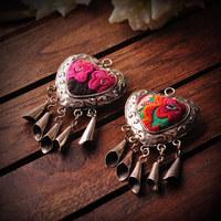 ao embroidery handmade jewelry retro jewelry Miao Silver Necklace Pendant heart-shaped Miao silver process of 3389-27713