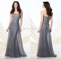 Sexy Arabic Style Sweetheart Neckline Shiny Sequins vestido de la madre Silver Gray Mother Of the Bride Dresses