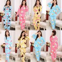 Spring women girl two-piece long cotton pajama sets Mickey/ Kitty/ Cow sleepwear