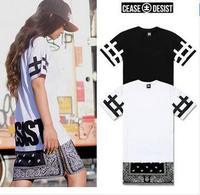 New Hot Top Cease Desist side Zipper Lengthen Bandana Tshirt Men Women Short-sleeve T-shirt Fashion Trend Dress Short Tee 2014