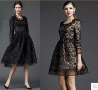2014 autumn fashion embroidered slim one-piece dress vintage royal water soluble lace dress skirt