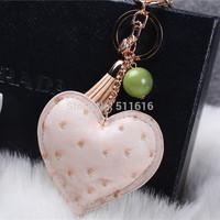 2015 Mother's Day Gifts Fashion Car Handbag Keychain Bag Charm Brand Leather Heart Key Chain Ring Holder Novelty Item Kawaii