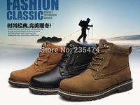 Handmade Genuine leather warm fur plus size men winter shoes,full grain leather Super warm men winter boots
