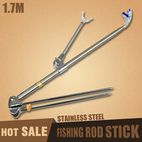 mini fishing pole rod stick 1.7m 100% stainless steel kick stand new rod floding support fishing tools ZJ04 wholesale price