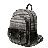 ANGEL ! 2015 new Middle school students' leisure backpack fashion grid the knapsack girl's school bag men's travel bags FF691