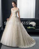 Delicately Ball-Gown Wedding Dresses V-Neck Double Shoulder Lace Flower Court Train Tulle Bridal Dresses White Ivory Custom