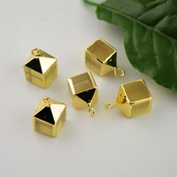 Square Shape 10Pcs Gold Plated Edge Druzy Natural Stone Charms Pendant Jewelry Finding
