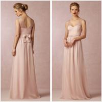 New Arrival V-Neck Floor Length Open Back Bow Bridesmaid Dresses Gowns Custom-made
