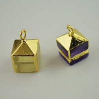 Finding 10Pcs Gold Plated Square Shape Edge Druzy Amethyst /Natural Stone Charms Pendant