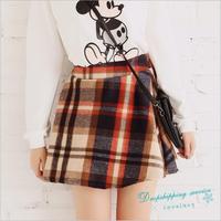 Women Plaid Skirt Winter Warm Woolen Skirts Female Sweet Skirt Free Shipping