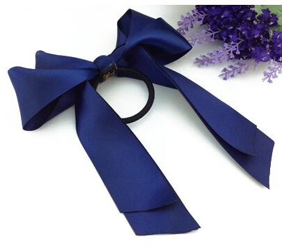 Dark blue Bow hair bands hair rope(China (Mainland))
