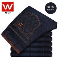 New winter plus velvet men's business casual jeans / straight denim long trousers Korean tidal 018