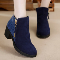 FREESHIPPING 2014 New Winter Boots In Leather With Matte Thick With Really Pima Ding Shan And Ankle high boots B-P-8051