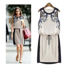 Nuovo 2014 stampato vestito da estate delle donne dell'annata abbigliamento schiacciato vita chiffon vestito delle donne del vestito casuale abito senza maniche 0553  (China (Mainland))