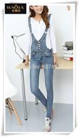 New 2015 Hot Europe Women Jeans Cotton Pencil Ninth Pants Can Remove Two Braces High Waist Button Natural Color Fashion Jeans