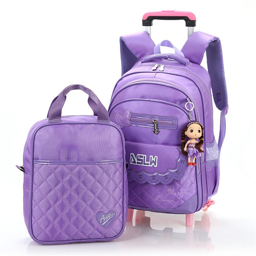 Girls' Bow Lovely Trolley School Bag Backpack on Wheels 2 Bags Set Running School Bags for Girls Mochila Escolar Com Rodinhas(China (Mainland))
