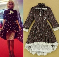 2015 Early Spring Women's Retro Lace Retro Style Lace Small Floral Print Dovetail Dress Formal Dress