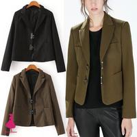 2015 New Trendy Women Army Green Black Notched Slim Short Blazer Suit Jacket Coat Top