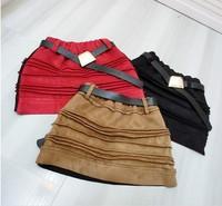 Retail new 2015  fall and winter Girls fashion wild College Wind retro minimalist suede skirt