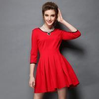 L-5XL Brand Quality 2015 Spring Women's A-line Dresses Red Fashion 3/4 Sleeve Slim Eleagnt Party Dress Big Size XXXXXL Black