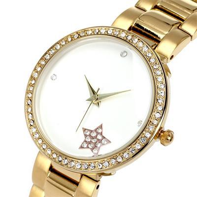 New Look Design Stainless Steel Strap Ladies Fashion Quartz WristWatches Glossy Star Dial Czech Rhinestone Women