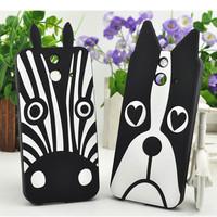 Lovely Cute Cartoon 3D Animal Silicon Soft Back Case Cover Fundas Capa Para for HTC One E8 Silicone Rubber Case Dog Zebra Cases