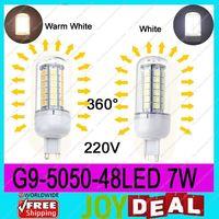 AC220V-240V G9 5050SMD 48LEDs 7W High Quality Bright Corn LED Bulb Wall Lamps Ceiling light White 6500K or Warm White 3200K
