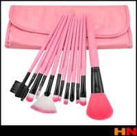 Beauty New 12pcs Facial Make up Tools Brush Synthetic Cosmetic Makeup Brushes & Up Bag, Pink Drop shiping