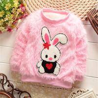 2015 new children's cartoon rabbit fashion plush coat, cute super soft plush long-sleeved sweater. girls winter plush coat.