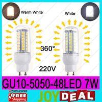 AC220V-240V GU10 5050SMD 48LEDs 7W High Quality Bright Corn LED Bulb Wall Lamps Ceiling light White 6500K or Warm White 3200K