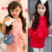 Retail 1 pcs  2015  fashion girls Sweet Cute Shall bow dress girls summer clearance dress