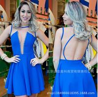 2015 High Quality Blue Beading   V-ncek Sleeveless A-line Ruffles Dress Vestido