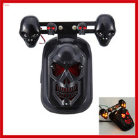 New Black Ghost Skull Tail Plate Brake Light Turn Signal Light for Harley Cruise Quad ATV Dirt Bike Motorcycle