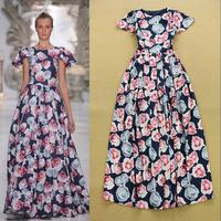 Stunning ! Runway Trends Cute Formal Full Dress Women's Short Sleeves Fancy Rose Flower Printed Maxi Long Dress