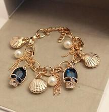 Shell pearl blue crystal skull female bracelet/korean luxury hand chain/pulseras mujer/pulseiras femininas/charm/cristal/caveira