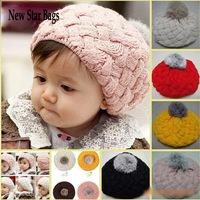 HOT SALE Baby Handmade Crochet Knitting Beret Hat Cap Cute Warm Beanie 4Colors .S8E