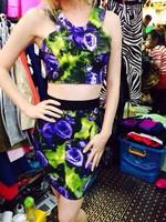 2 Piece 2015 Newest Lady's High Quality Cute Girl Print HL Bandage Dresses kim kardashian celebrity dresses drop shipping