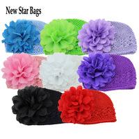 2015 NEW Cute Toddlers Girls Baby Beanie Hat Handmade Flowers Crochet Knitting Cap Drop Shipping.S6E