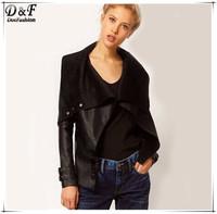 Fashion Women Leather Jackets 2015 Plus Size Spring Vintage Casual Motor Streetwear Black Lapel Long Sleeve PU Crop Coat
