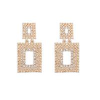 Promotion! Wholesale! Fashion lady women earring elegant luxury brief rhinestones hollow out geometric alloy stud earrings ER546