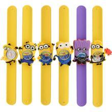Minion Cartoon Gel Child Quartz Kids Slap On Wrist Watch Unique Xmas Gift free shipping
