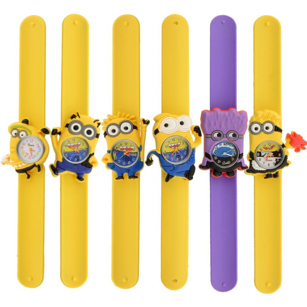 Minion Cartoon Gel Child Quartz Kids Slap On Wrist Watch Unique Xmas Gift free shipping(China (Mainland))