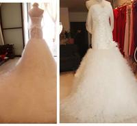 Free shipping 2015 Top Super Sexy Mermaid Real Photos Wedding Dress Bridal Gown Vestido De Novia S001