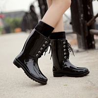 Free shipping new Korean  sweet women rainboots bandage boots waterproof non-slip rain boots 3 colors size(36-40)