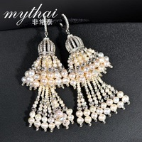 Thai fashion Pearl Earring inlaid zircon small drill with long tassels earring small luxury perfume heralded