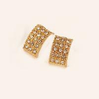 Promotion! Wholesale! Fashion lady women earrings elegant all-match rhinestones geometric rectangle alloy stud earrings ER545
