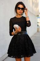 2015 Spring autumn winters lace embroidery flower sweet dress women fleabane A-line mini ball gown black Vestidos