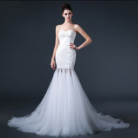 Free shipping 2015 Super Sexy Mermaid Tassel Wedding Dress Bridal Gown Vestido De Novia S004