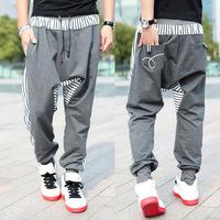 Men's Clothing Fashion Strip Spliced Sweatpants Pantalones Cotton Drawstring Hip Hop Sport Men Harem Pants Pleated Mens Joggers