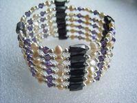 108cm stunning pink pearl purple crystal magnetic tube necklace /bracelet